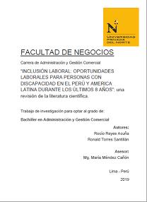Inclusión laboral: oportunidades laborales para personas con discapacidad en el Perú y América durante los últimos 8 años. Una revisión de la literatura científica