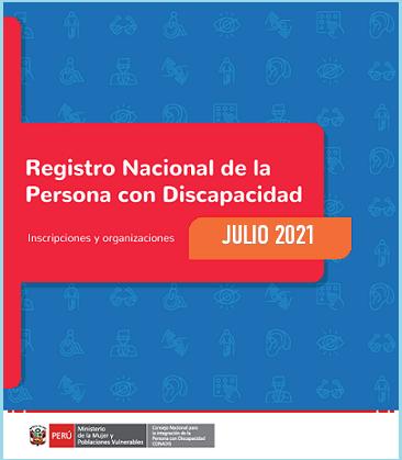Portada de las estadísticas del Registro Nacional de la Discapacidad a julio de 2021