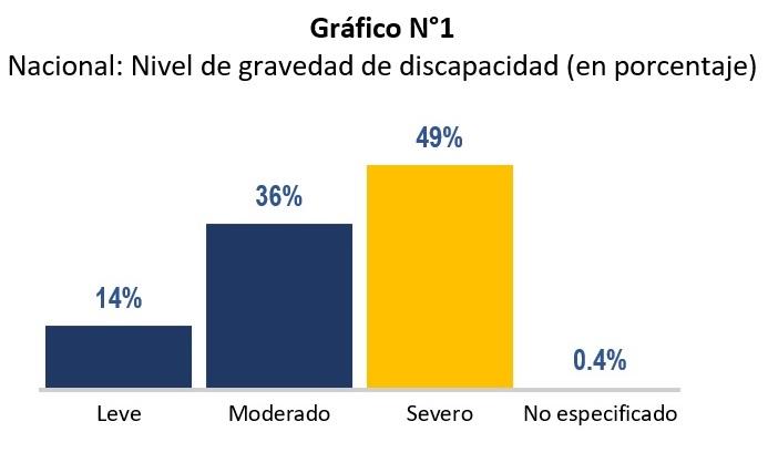 Gráfico estadístico del Registro Nacional de la Persona con Discapacidad por nivel de gravedad, donde el 49% tiene discapacidad severa