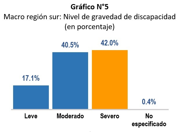 Gráfico estadístico del Registro Nacional de la Persona con Discapacidad por nivel de gravedad, donde el 42% tiene discapacidad severa