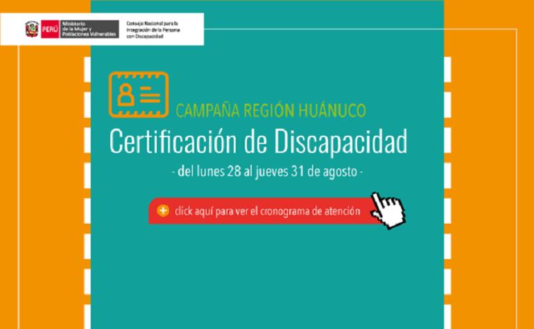 Certificación de discapacidad en la región Huánuco