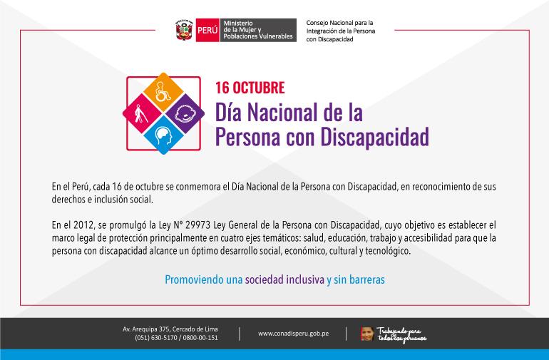 Hoy 16 De Octubre Conmemoramos El Dia Nacional De La Persona Con Discapacidad Conadis