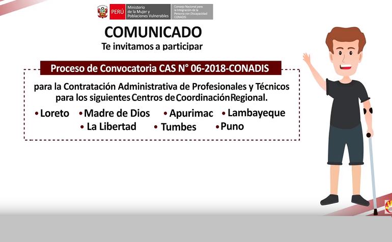 Convocatoria de personal para los CCR del CONADIS