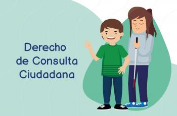 ilustración de niño y mujer con discapacidad visual saludando