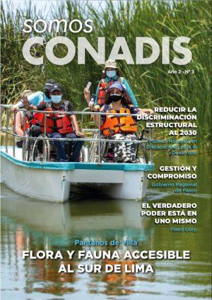portada de la tercera edición de la revista con la foto de un bote accesible con personas en silla de ruedas
